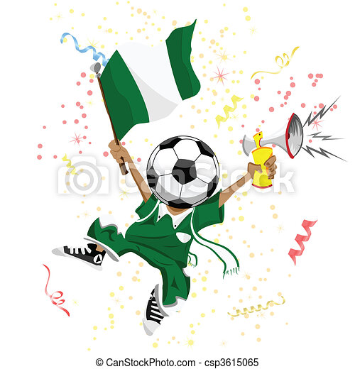Nigeria Soccer Fan with Ball Head. - csp3615065