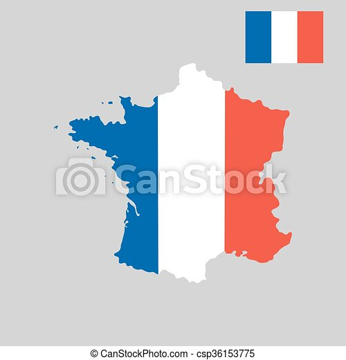 Map of France in French flag colors style  - csp36153775