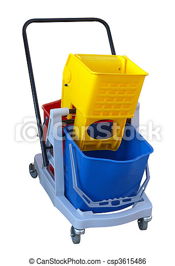 Three Plastic Buckets on a Cleaners Trolley - csp3615486