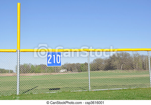 Baseball Foul Pole and Outfield Fence - csp3616001