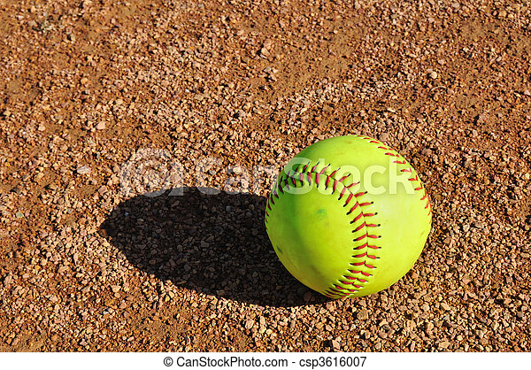 Yellow Softball on the Infield - csp3616007