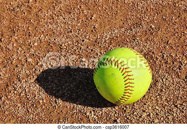 Yellow Softball on the Infield  - csp3616007