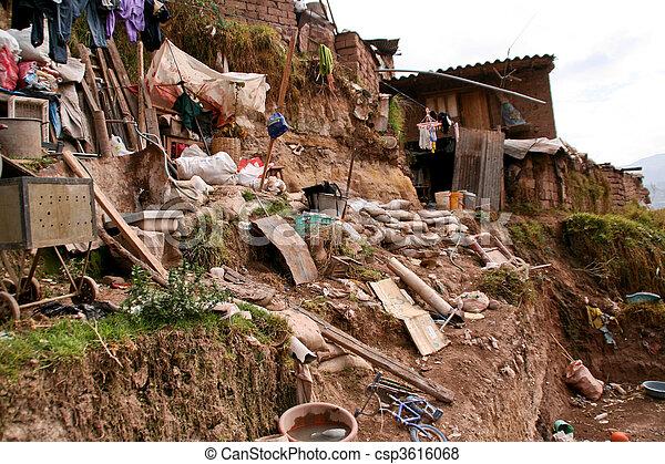 Hut In Slums in Cuzco in Peru - csp3616068