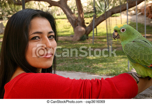 Attractive Latin Woman With A Parrot - csp3616069