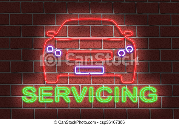 Neon SERVICING sign - csp36167386