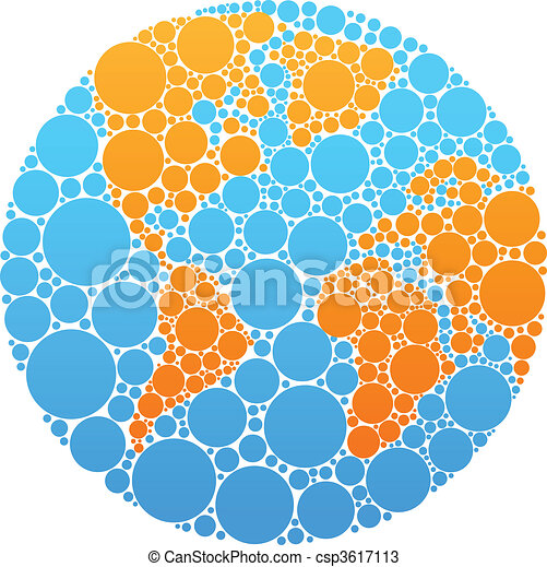 Blue and orange circle globe - csp3617113