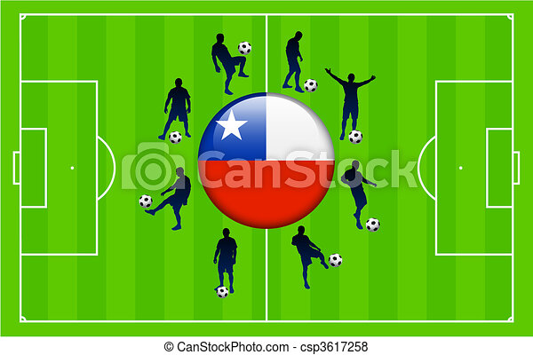 Chile Flag Icon Internet Button with Soccer Match - csp3617258