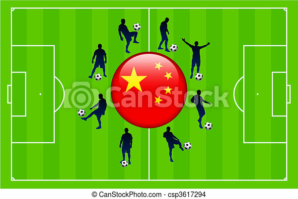 China Flag Icon Internet Button with Soccer Match - csp3617294
