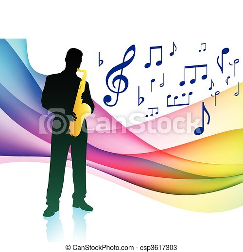 Saxophone Player on Musical Note Color Spectrum - csp3617303