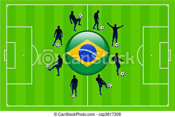 Brazil Flag Icon Internet Button with Soccer Match - csp3617308