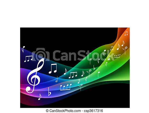 Musical Notes on Wave Color Spectrum - csp3617316
