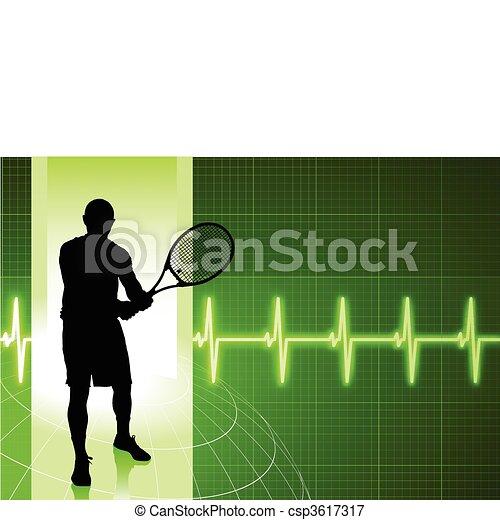 Tennis Player on Green Pulse Background - csp3617317
