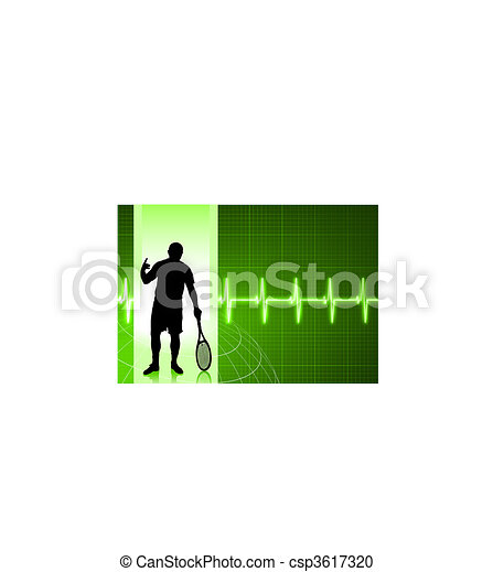 Tennis Player on Green Pulse Background - csp3617320