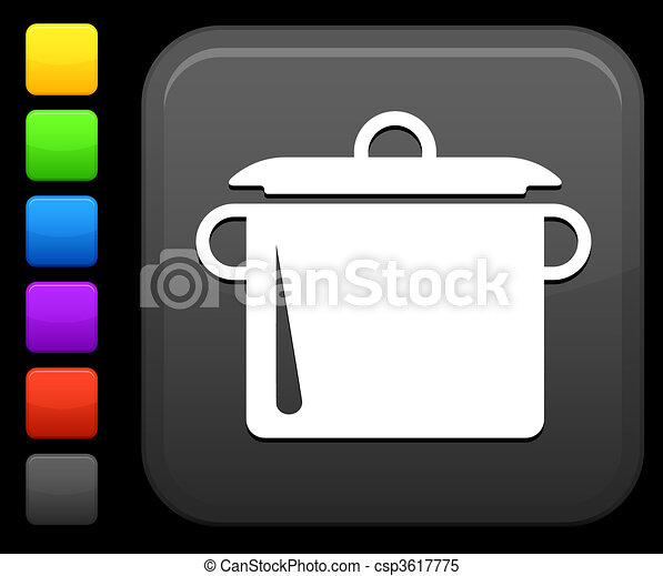 cooking pot icon on square internet button - csp3617775
