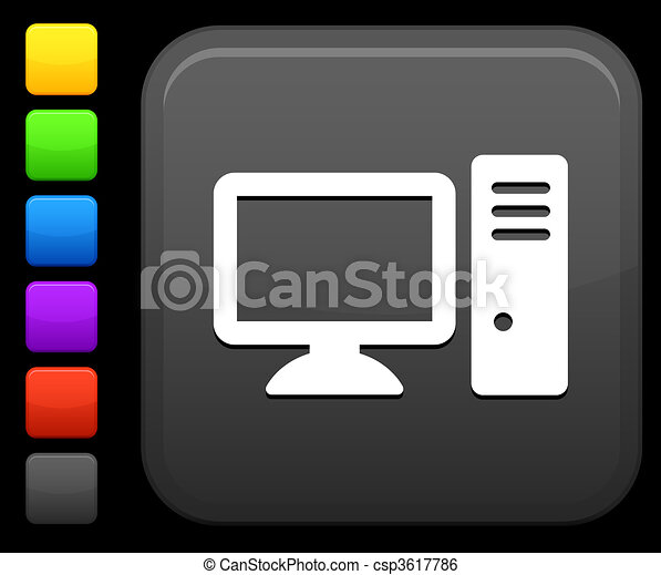 desktop computer icon on square internet button - csp3617786