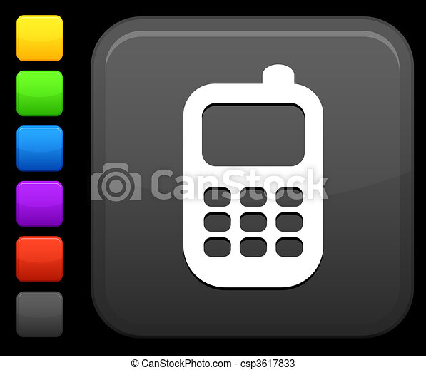 Smart phone icon on square internet button - csp3617833