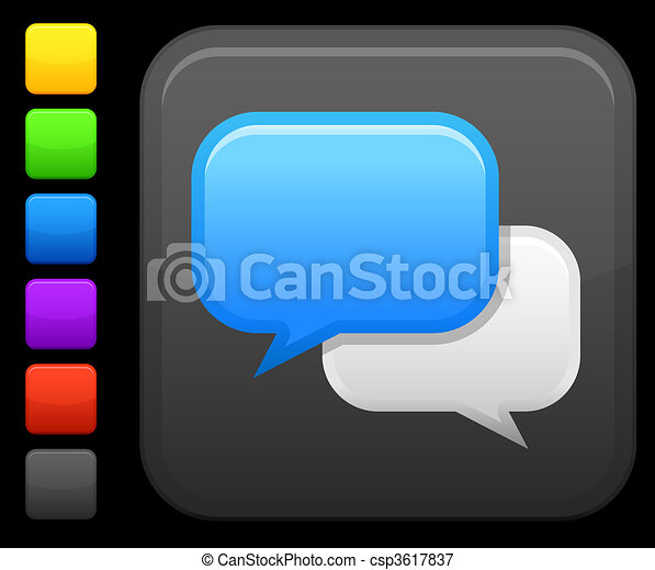 chat room icon on square internet button - csp3617837