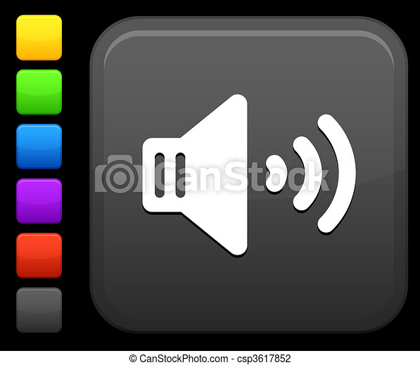 sound speaker icon on square internet button - csp3617852