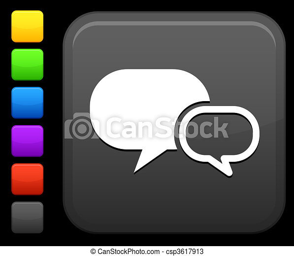 chat room icon on square internet button - csp3617913