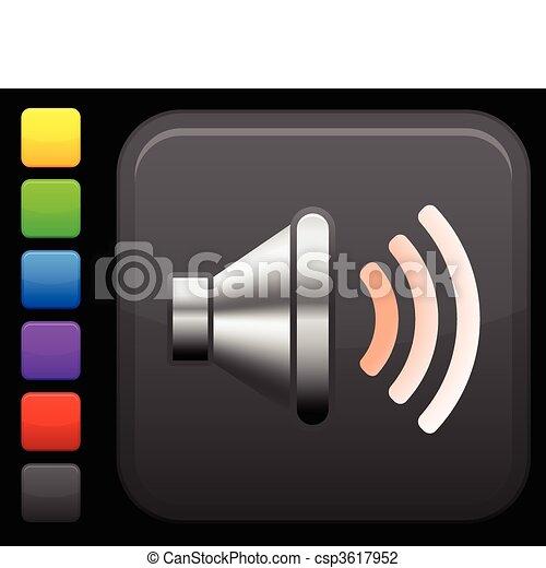 sound speaker icon on square internet button - csp3617952