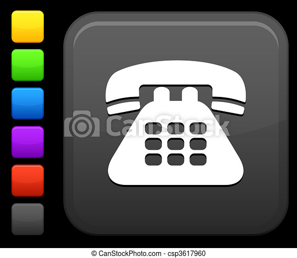 telephone icon on square internet button - csp3617960