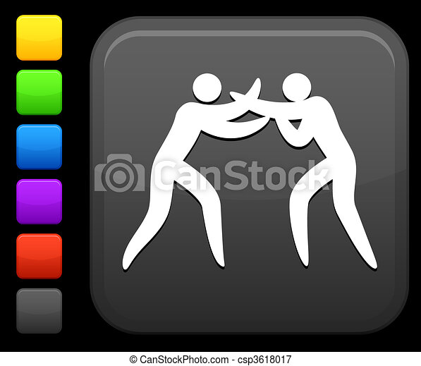 boxing icon on square internet button - csp3618017