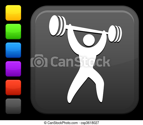 weight lifter icon on square internet button - csp3618027
