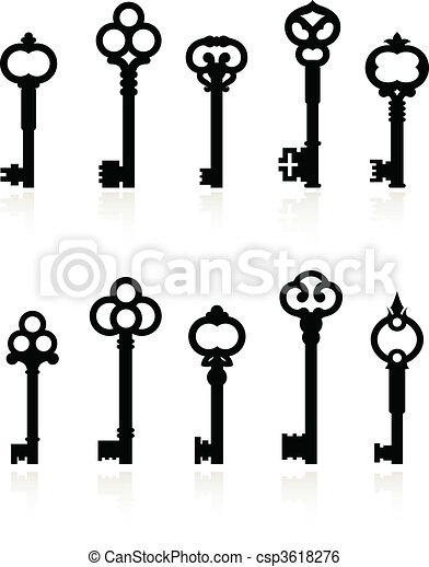 antique keys collection - csp3618276