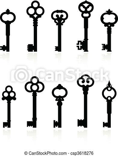 antique keys collection - csp3618276