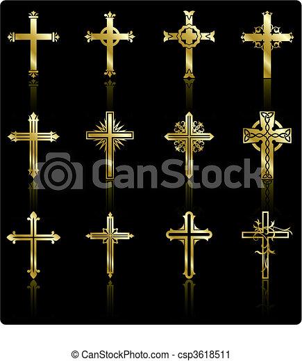religious golden cross design collection - csp3618511