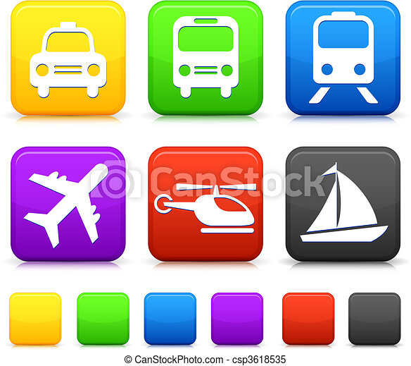Transportation icon on internet buttons - csp3618535