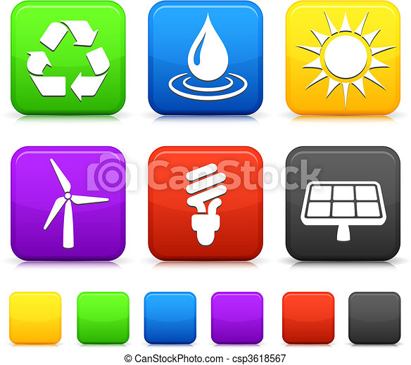 Nature Environment icons on square internet buttons - csp3618567