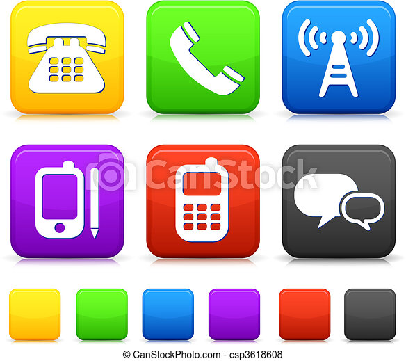 Technology Icons on Square Internet Buttons - csp3618608