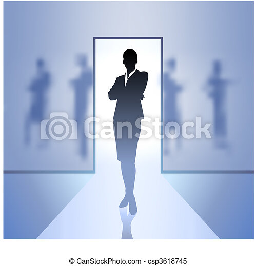 Young business woman silhouettes - csp3618745