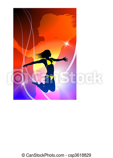 Sexy Woman Celebration with Light Streak - csp3618829