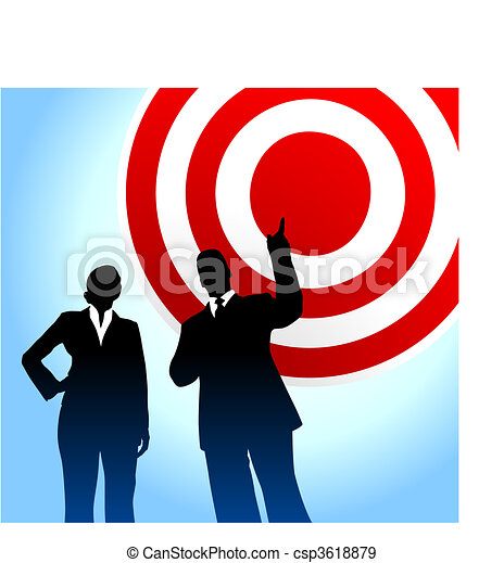 Bull's eye target background with business executives - csp3618879