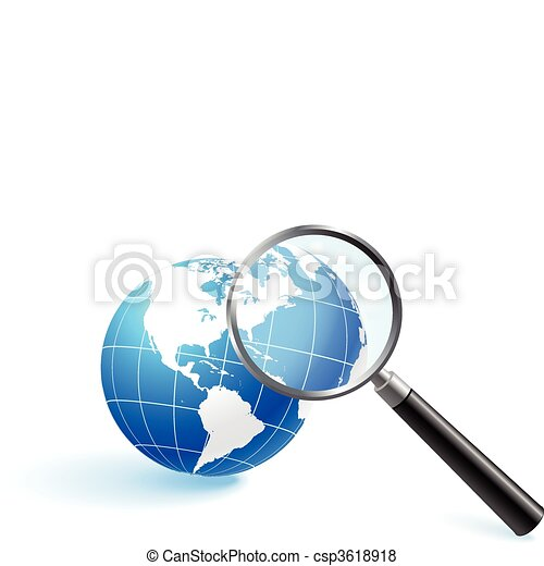 Globe under magnifying glass - csp3618918