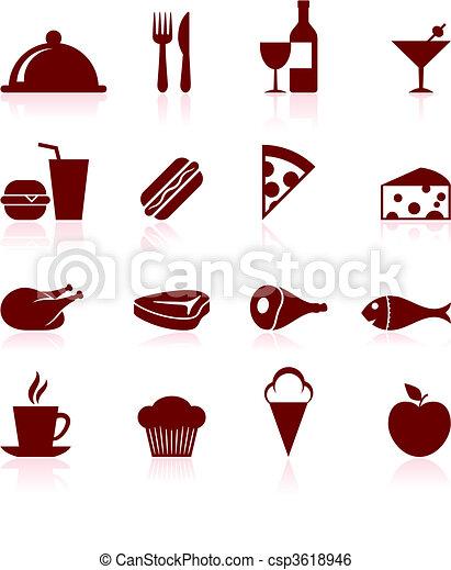 gourmet food icon set - csp3618946