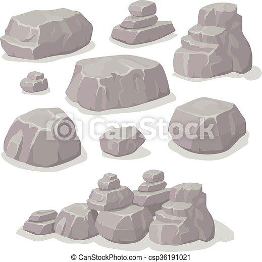 Illustration vecteur de pierres plat isom trique ensemble ensemble diff rent - Rocher dessin ...