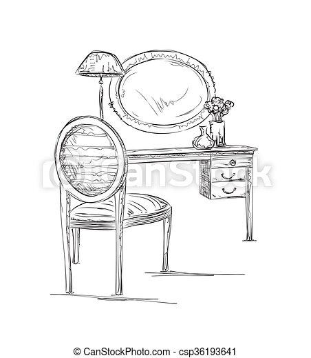 Tisch gezeichnet  Stuhl Gezeichnet | rheumri.com
