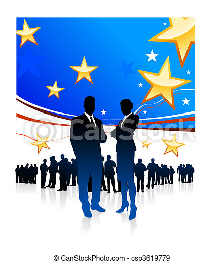 Original Vector Illustration: Business People on United States of America elections background AI8 compatible - csp3619779
