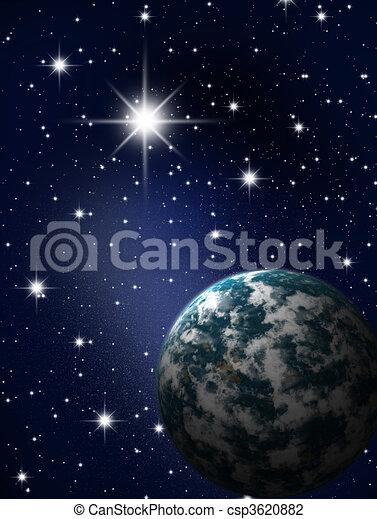 Planet in stars sky - csp3620882