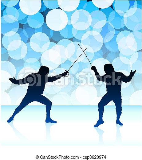 Fencer on Blue Lens Flare Background - csp3620974