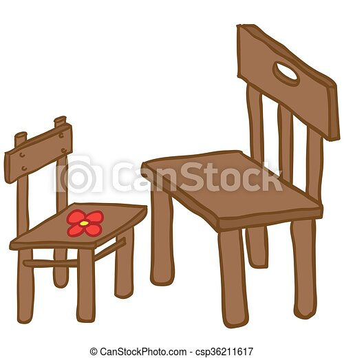 Vector Clip Art Of Chairs Small And Big Chair Cartoon