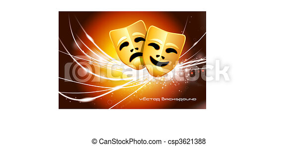 Comedy and Tragedy Masks on Abstract Modern Light Background - csp3621388