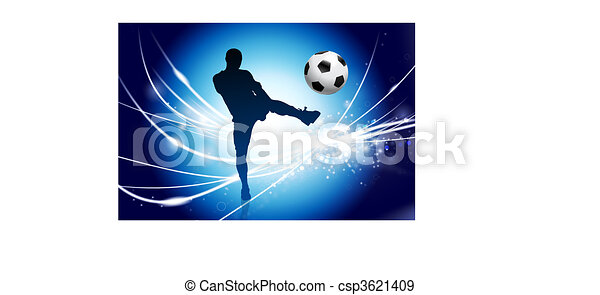 Soccer Player on Abstract Modern Light Background - csp3621409