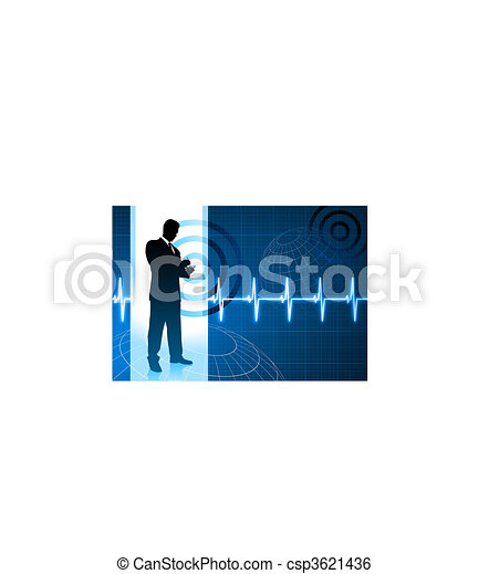 business people on pulse background - csp3621436