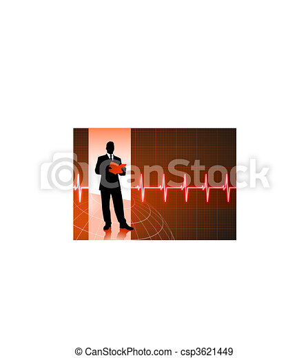 business people on pulse background - csp3621449