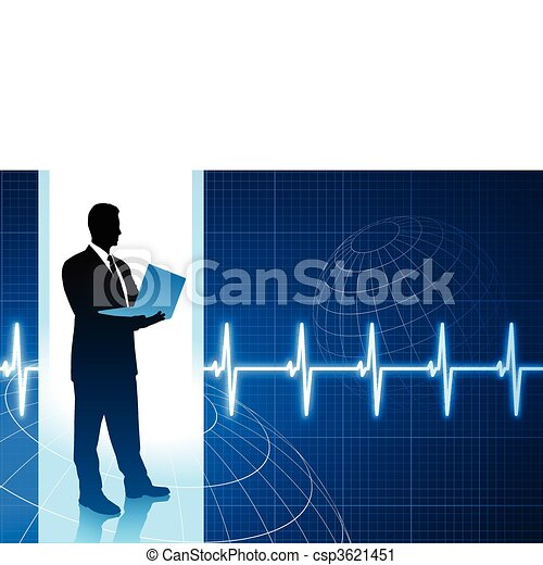 Original Vector Illustration: businessman holding computer internet background with pulse heart rate AI8 compatible - csp3621451