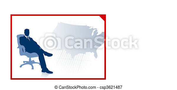 Business executive on US map background - csp3621487